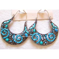 Earrings Tibetan Authentic with Blue Mineral Gemstone Beads and Turkmen Silver - Handmade Fashion Earrings - Online Shopping for Earrings by Store Utsav - Online Shopping for Earrings by Store Utsav