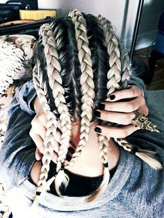 Pretty awesome braids hairstyle! Love the ring