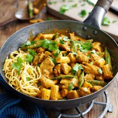Chicken satay noodles. If you don't fancy noodles, make the curry base and serve it with rice.