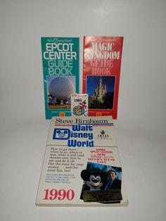 Vintage Lot Walt Disney World Memorabilia 80s Early 90 Guides Pamphlets Badge #WaltDisneyWorld