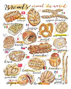 Food art available as prints and notebooks by LouPaper on Etsy