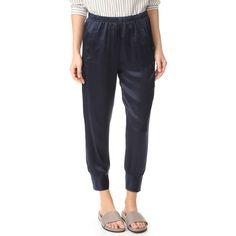 Vince Slim Satin Jogger Pants (439 AUD) ❤ liked on Polyvore featuring pants, coastal, vince pants, satin pants, slim pants, slim fit trousers and slim trousers