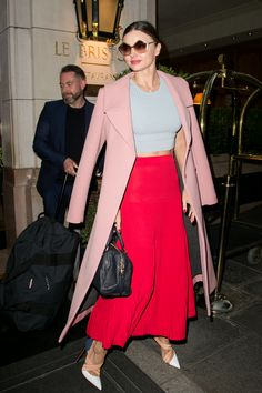 Easily make a statement by giving colorblocking a try. Miranda recently paired a dusty-pink Marni coat with...