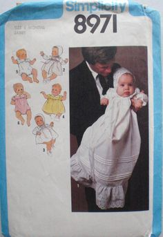 1970's Baby's Wardrobe Sewing Pattern - Christening Dress, Bonnet, Rompers, Dress - Simplicity 8971 - Size 6 Months by Shelleyville on Etsy