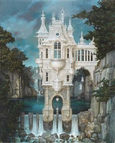 Over the Falls — Daniel Merriam's Bubble Street Gallery Fantasy City, Fantasy Castle, Fantasy Places, Fantasy World, Beautiful Castles, Beautiful Buildings, Beautiful Places, Toile Photo, Street Gallery