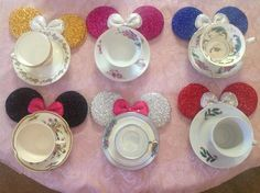 "A fun, Disney way to throw a tea party for a little girl. A ""Minnie"" tea party. Created by Julia Engelhardt on August 15, 2013! Enjoy! Just took thrift store tea cup sets and Minnie Mouse ears and put them around the tea plates.. Voila!"