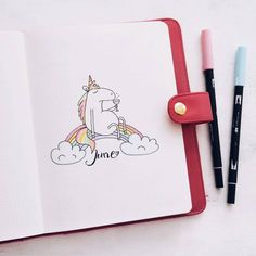 """""""Plan With Me"""" video for another take on Unicorn theme in my Bullet Journal. I also included ideas and tutorials with some cute unicorn themed doodles to add to your Bullet Journal pages. Bullet Journal June, Bullet Journal Cover Page, Bullet Journal Themes, Bullet Journal Spread, Journal Covers, Bullet Journal Inspiration, Bullet Journals, Journal Layout, My Journal"""