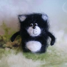 Amigurumi Stuffed Toy Black Cat Birthday Gift Miniature Plush