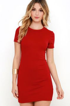 The Hey Good Lookin' Short Sleeve Red Dress proves that fitted, comfy, and cute can not just co-exist, but thrive! Soft, medium-weight, ribbed stretch knit begins at a crew neckline between short sleeves, flowing down into a cute bodycon dress.