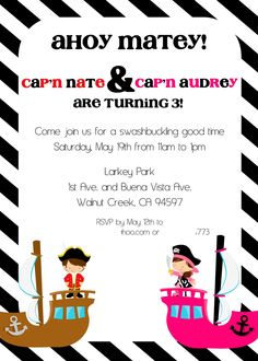 Twins pirate party invitation