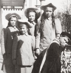 "The Imperial children out on the balcony of the Alexander Palace,Tsarskoe Selo. ""AL"""