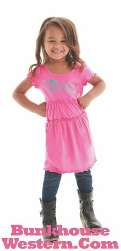 """SALE! Girl's pink """"Believe"""" dress, Cowgirl Tuff Company youth clothing, little cowgirl clothing, western kids apparel, http://www.bunkhousewestern.com/Pink_Girls_Lettuce_Trim_Dress_by_Cowgirl_Tuff_Co_p/7363.htm"""