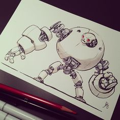 Robot drawing time. Another Kickstarter reward. - Jake Parker