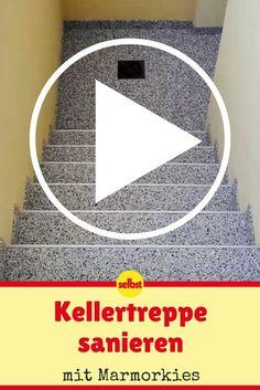 Ist die Kellertreppe sanierungsbedürftig, sieht das nicht nur unschön aus, sondern kann auch gefährlich werden. Wir zeigen dir, wie du die Treppe wieder ausbesserst! #video #videotutorial #treppen #keller #kies #marmor #diy #selbermachen