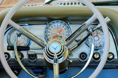 When dashboards were all chromed and cool looking - this is the steering wheel well area of a 1959 Ford Thunderbird convertible just like Edd 'Kookie' Byrnes drove around in on 77 Sunset Strip!