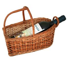 Full Wine Bottle Cradle Basket Wicker Weave Rustic Charm