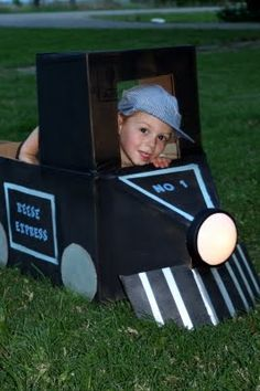 All Aboard the cardboard train.  The front light even turns on for an evening train ride.  This project started with th. Thomas Birthday, Trains Birthday Party, Train Party, 2nd Birthday Parties, Boy Birthday, Kid Parties, Mouse Parties, Pirate Party, Birthday Ideas