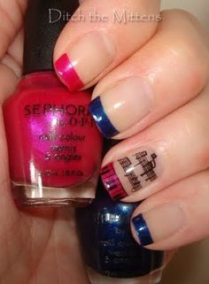 Nails - (Revlon) Clear  Tips - Pink (Sephora by OPI - Glee Collection) Miss Bossy Pants            Blue (Sephora by OPI - Glee Collection) Sue vs. Shue  Design - (KSP) Black (IP) m73