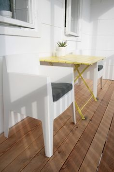 Love the pop of yellow.  I can see using white plastic chairs in the backyard, and adding a metal table that is painted yellow.