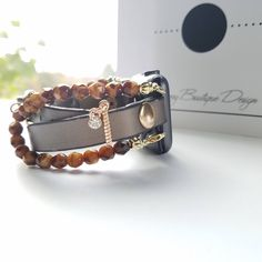 Apple Watch Band, Apple Watch Band 38mm, Apple Watch Band 42mm, Bronze leather Wrap & Light Amber Swirl Glass Stack Bracelet with Charm by BerryBoutiqueDesign on Etsy