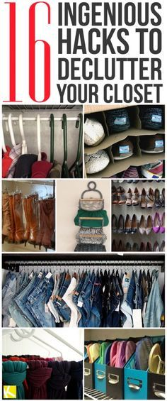 1. S hooks are perfect for hanging jeans. Via Closet Stalker 2. An old wine rack works well as a clutch holder. Via Salvage Life 3. Curtain rods on the ins