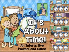 Practice telling time to the hour, half hour, quarter hour and minute with this interactive PowerPoint game. Teaching Math, Maths, Time To The Hour, Powerpoint Games, Telling Time, Numeracy, Kindergarten, Presentation, Classroom