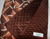 chocolate brown minky and football baby blanket