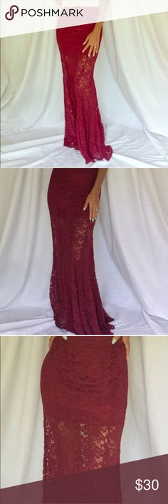 Stunning Mermaid style maxi skirt Very cute mermaid style maxi skirt in a mbeautiful burgundy color model is 5'4 and wearing a Small Skirts Maxi