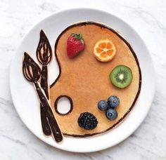 Cute Food, Good Food, Yummy Food, Cute Desserts, Dessert Recipes, Creative Desserts, Pancake Art, Food Art For Kids, Food Artists