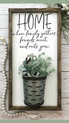 Home Where Family Gathers, friends meet, and roots grow. Galvanized Vase Sign, Farmhouse Sign, Farmhouse Decor, Home Sign, Cotton Stem Sign, Gallery Wall wood Sign, home decor, rustic sign, rustic wall decor, housewarming gift idea #ad