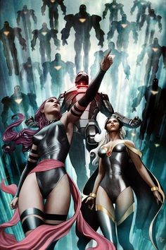 Iron Man, Psylocke, & Storm •Adi Granov