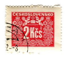 Czechoslovakia Postage Stamp: red birds by Karen Horton. Going Postal, Love Stamps, Vintage Typography, Vintage Stamps, Small Art, Vintage Travel Posters, Stamp Collecting, Lettering, Snail Mail
