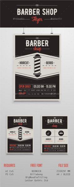 Barber Shop Flyer Template PSD, AI Illustrator. Download here: http://graphicriver.net/item/barber-shop-flyer/16287808?ref=ksioks