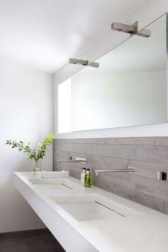 simplicity in Denmark, custom sink & overhead lights from Antonio Lupi, grey,white, & chrome bathroom: