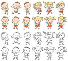 Illustration about Set of different kids with various emotions, both colorful and black and white. Illustration of group, people, drawing - 71012384 Boy And Girl Cartoon, Cartoon Kids, Cute Cartoon, Boy Or Girl, Girls Characters, Cartoon Characters, Pencil Illustration, Graphic Illustration, Illustrations