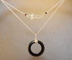 Necklace 151 Black onyx circle on chain by CalicoJunoJewelry