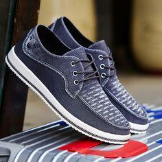 US $23 New Arrival Casual Mens Shoes Classical Men Denim Shoes Canvas Slip On Blue Denim Shoes Jeans Fabric Soft Green Grey Blue