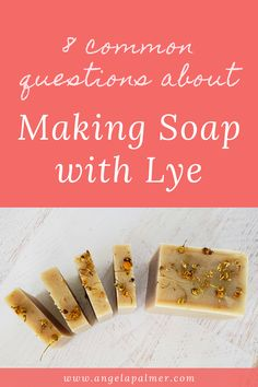 Are you new to making soap with lye? You probably have lots of soap making questions, especially about that kinda-scary ingredient LYE. No worries, friend. This piece will answer 8 of the most common questions about making soap with lye, plus give you tips to help you start making soap from scratch. Ready to get your lye questions answered? Pin to save, then click over to my farm blog to get answers to the 8 common questions about making soap with lye for beginners. Homemade Skin Care, Diy Skin Care, Handmade Soap Recipes, Lye Soap, Lotion Recipe, Diy Lip Balm, Soap Maker, Cold Process Soap, The Balm