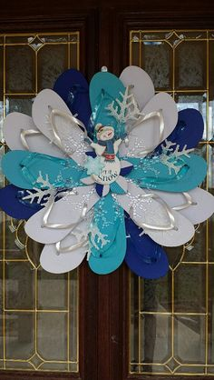 Let it Snow Blue & White Handmade Flip Flop by TheFlipFlopDaisy $50
