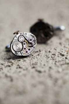 Cufflinks made from the inside of watches.
