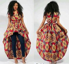 African long high-low peplum top and jeans