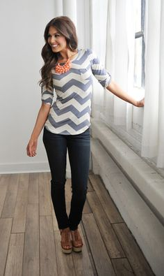 CHEVRON SCOOP TUNIC- GREY from Dottie Couture Boutique