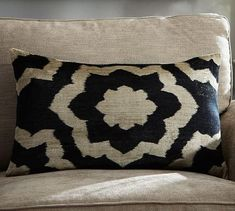Cleo Printed Velvet Lumbar Pillow Cover in Beige and Black