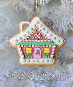Handcrafted Polymer Clay Gingerbread House Ornament by Kay Miller on Etsy $15: