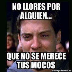 Meme crying peter parker - no llores por alguien... que no se merece tus mocos - 2640994