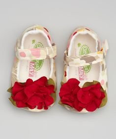 Look what I found on #zulily! Red & Ivory Rose Mary Jane #zulilyfinds