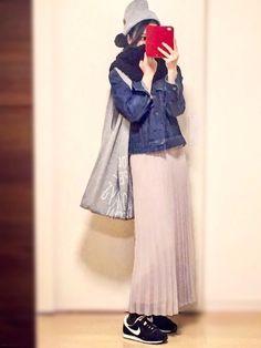 UNIQLOシフォンプリーツスカートをカジュアルに着る  in winter❷ 今度は夏に買ったプリ