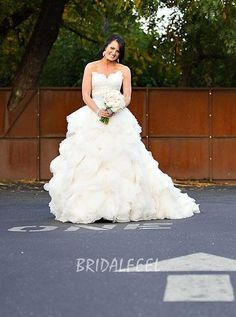 Unique Ball Gown Strapless White Lace Ruffled Fall Wedding Dress