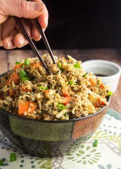 "Cauliflower Pork Fried ""Rice"" + One-Pot Paleo Cookbook Review — Foraged Dish"