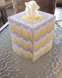 Excited to share this item from my shop: Yellow, White, and Gray Bargello Tissue Box Cover Tissue Box Crafts, Plastic Canvas Tissue Boxes, Plastic Canvas Patterns, Fall Crafts, Arts And Crafts, Kleenex Box, Needlepoint Patterns, Bargello, Tissue Box Covers